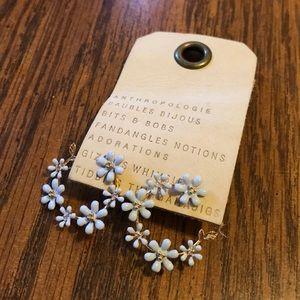 NWT Anthropologie baby blue floral hoop earrings